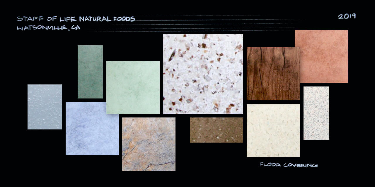 A moodboard with a collection of square and rectangle samples of floor coverings — tiles, wood and linoleum in browns, creams, rusts, greens and blues.