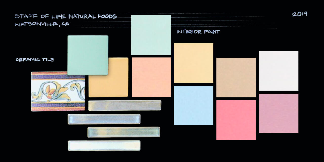 A moodboard with a collection of square and rectangle samples of ceramic tiles and interior paints — multiple hues of yellow, tan, blue, green, pink and purple.