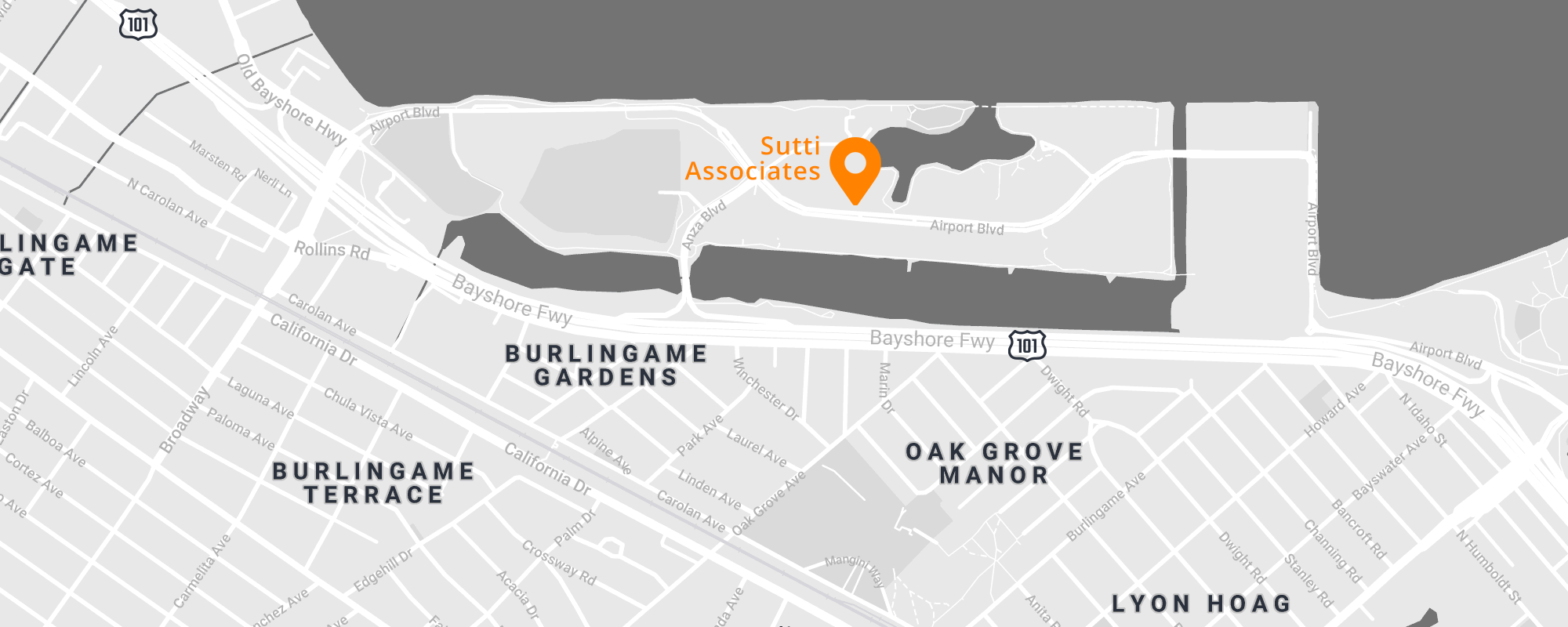 Map of Burlingame with marker at Sutti Associates office. 700 Airport Blvd., Ste. 410 Burlingame, California 94010.